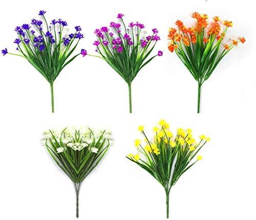 PJF Flores Artificiales Falsas al Aire Libre Resistente a los Rayos UV Vegetación Arbustos Plantas Interior Exterior Jardinera Colgante Decoración de jardín en casa, 5 Colores