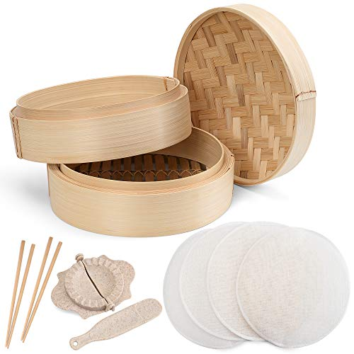 Annie's Kitchen Premium 10 Inch Handmade Bamboo Steamer Basket- 2 Tier Baskets- Lid. Dumpling Maker with Spoon, 4 Reusable Cotton Liners, 2 sets Chopsticks- For Rice, Vegetables, Fish, Meat & Desserts