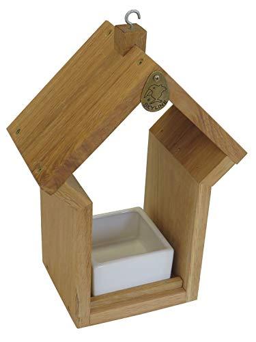 Skyline Lucky Vogelvoerhuisje, voederbakje, vogelhuisje, van eikenhout met keramische krap