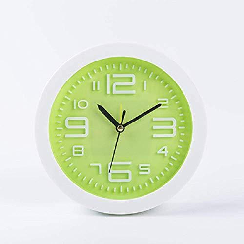 Relojes de escritorio para niños Reloj despertador Personalidad creativa Estudiante junto a la cama Reloj de dormitorio Reloj silencioso Dibujos animados lindo Reloj despertador simple-Verde m