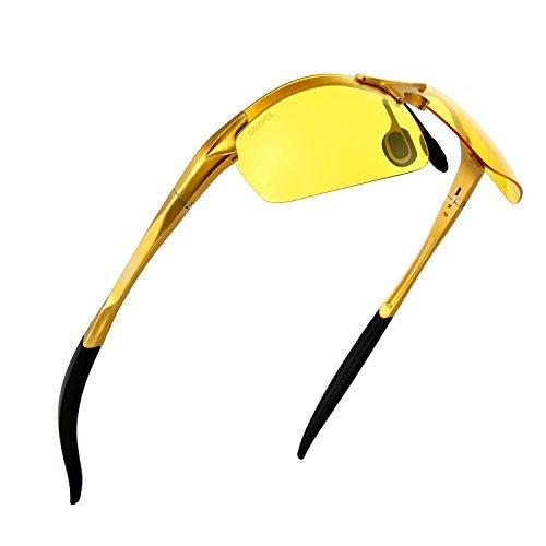 Lazarap Outdoor Sport Night Vision Sunglasses Soxick Yellow Lens Night Glasses for Driving Unbreakable Glasses Fishing Golden Frame