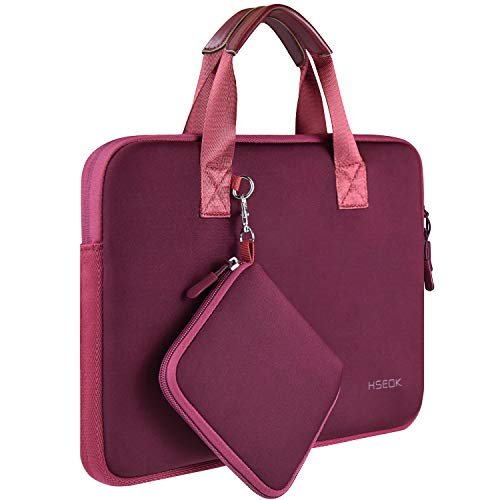 Laptop Sleeve 13 13.3 13.5 Inch Case for MacBook Air Pro 13'-13.3', Surface Laptop 13.5', Water Repellent Elastic Neoprene Notebooks Hand Bag with Handle and Small Case, Deep Red