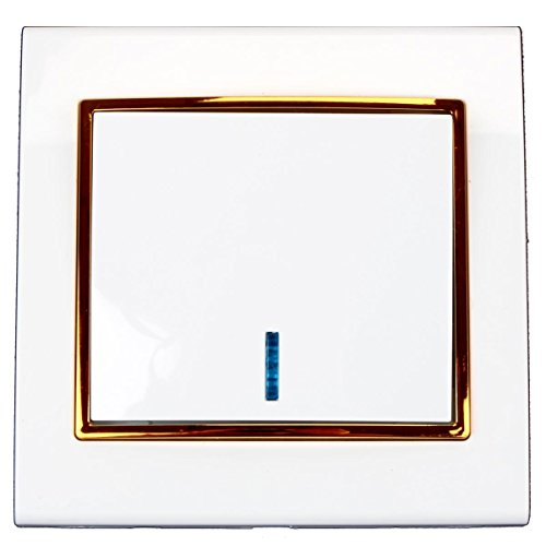 Unterputz Lichtschalter beleuchtet Farbe weiß/gold 10 A, 250 V
