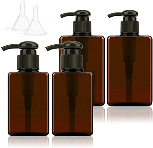 Seamuing Flaconi Vuoti da 100 ml, da 150 ml, con Pompa da Viaggio, Dispenser per sottovuoto, per fondotinta, Essenza, Schiuma, emulsione, Shampoo, 4 Pezzi (Marrone)