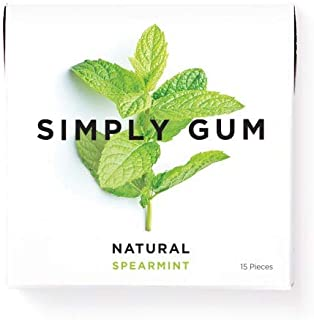 Simply Gum   Natural Chewing Gum   Spearmint   Pack of Six (90 Pieces Total)   Plastic Free + Aspartame Free + non GMO