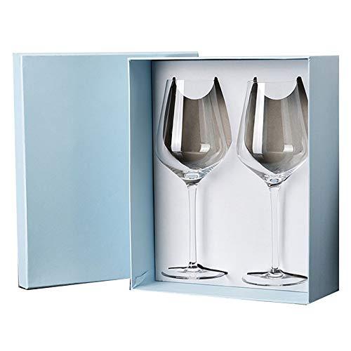 LHQ-HQ Copas De Regalo, Copas De Vino Creativas para El Hogar, Copas De Vino Tinto De Cristal, Regalos Navideños Empaquetados En Cajas De Regalo (2 Piezas),D