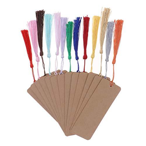 Toyvian Marcapáginas de cartón blanco de papel Kraft 24 unidades con marcador de página de libro Nappa para estudiantes profesores proyectos DIY Tag Regalos