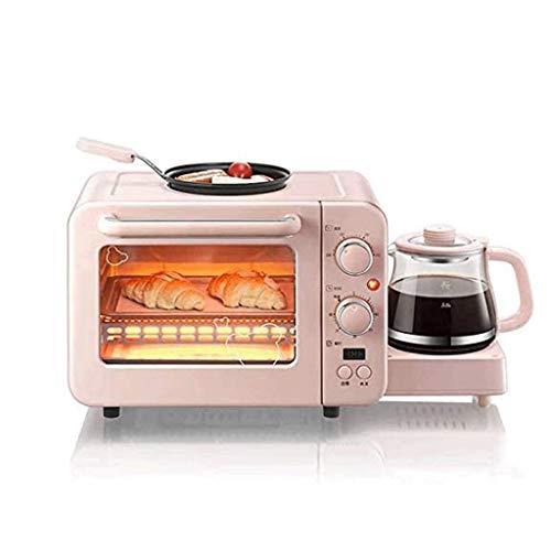 KLJUH 3-en-1 Tamaño de la Familia Desayuno StationPink, cafetera, tostadora del Horno con Temporizador, Plancha, Aqua