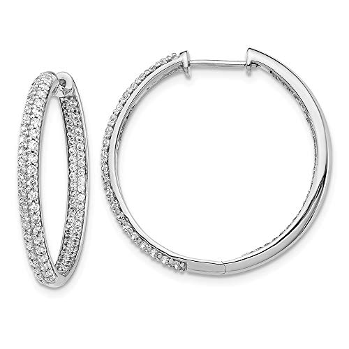 14k White Gold Diamond In/out Hinged Hoop Earrings Ear Hoops Set Round Fine Jewellery For Women Mothers Day Gifts For Her