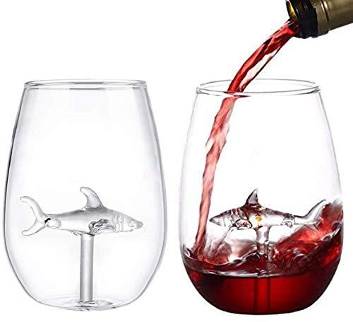 Copa de vino de tiburón, para exteriores, 2 copas de vino creativas, gran regalo para cumpleaños, aniversario, boda, fiesta, Navidad