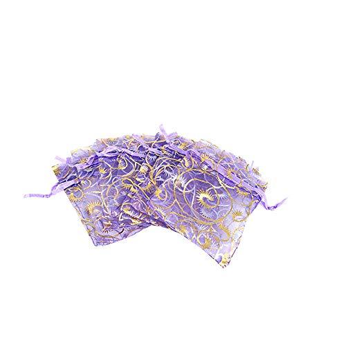 YFZYT 100 Stück Organzabeutel Schmuckbeutel Organzasäckchen Hochzeit Säckchen Geschenkbeutel Bonbonsbeutel für Hochzeit Geschenk Geburtstag - 10x15 cm/3.94x5.91 Zoll, Helles Lila#1
