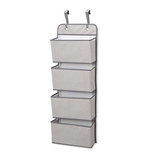 Delta Children 4 Pocket Over The Door Hanging Organizer, Easy Storage/Organization Solution - Versatile and Accessible in Any Room in the House, Grey