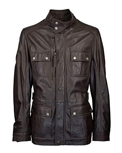 Lange Herren Lederjacke - M/65 Fieldjacket - echtes Leder - Military - Safari Style, Größe:60, Farbe:Dunkelbraun