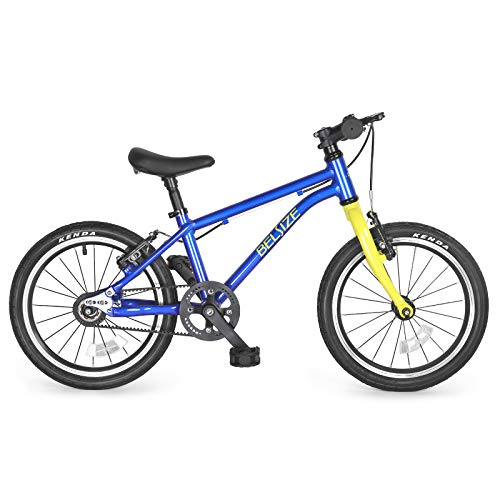 BELSIZE 16-Inch Luxury Belt Drive Kid's Bike for Boys and Girls, 12.57 lbs Lightweight Aluminium Alloy Bicycle, with Dual Hand V-Brakes and Adjustable Height Seat, Blue