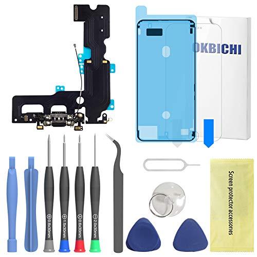 OKBICHI Puerto de Carga Compatible con iPhone 7 Plus (Negro/Space Grey) -...