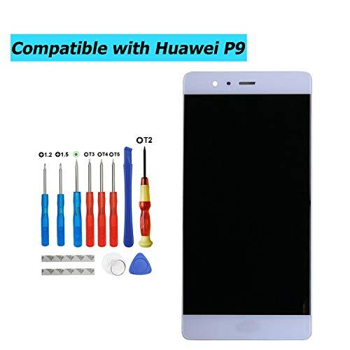 Upplus - Pantalla LCD de Repuesto Compatible con Huawei P9 Standard EVA-L09 EVA-L19 EVA-L29, Pantalla LCD táctil con Marco y Kit de Herramientas (Blanco)