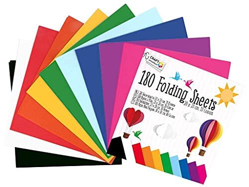 Craft Sensations Juego de manualidades de papel para origami, 20 x 20 cm, 180 hojas de doble cara, 10 colores únicos, incluye instrucciones completas de origami con numerosas formas de origami