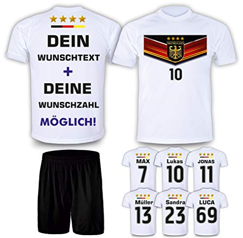 DE FANSHOP Deutschland Trikot mit Hose & GRATIS Wunschname Nummer #D7 2021 2022 EM/WM weiß - Geschenk für Kinder Jungen Baby Fußball T-Shirt personalisiert als Ostergeschenk
