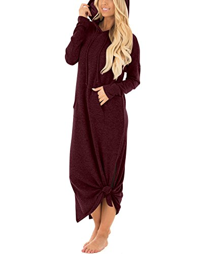 GIKING Women's Hooded Long Sleeve Split Pockets Sweatshirt Pullover Casual Long Dress Wine Red S