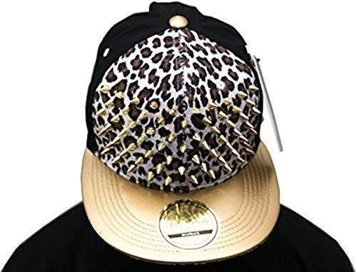 Bling leopard clouté Blanc SP Casquette de baseball à visière plate or-collection Chapeau