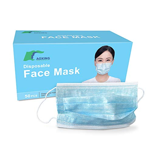 Disposable 3 Ply Face Masks (50 Pack) - Perfect for Day to Day Use | Level IIR Protection Tested BFE >98% | 3 Layer Facial Masks | Comfortable Elastic Earloops & Latex Free' /></a></td> <td class=