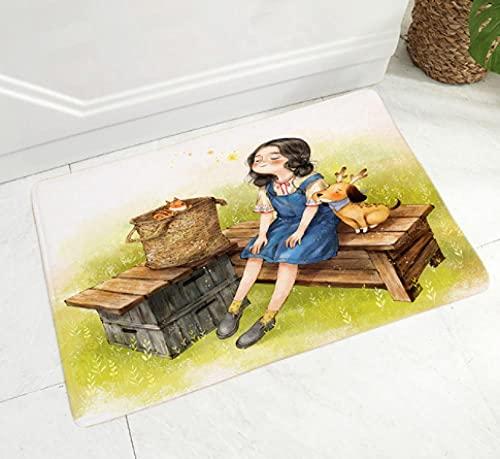 Felpudo para Exteriores e Interiores,Felpudo de Entrada para Puerta de Entrada, Felpudo de Piso Felpudo para Dormitorio de Oficina en casa,60 X 90 cm Felpudo de niña y Perro de Dibujos Animados