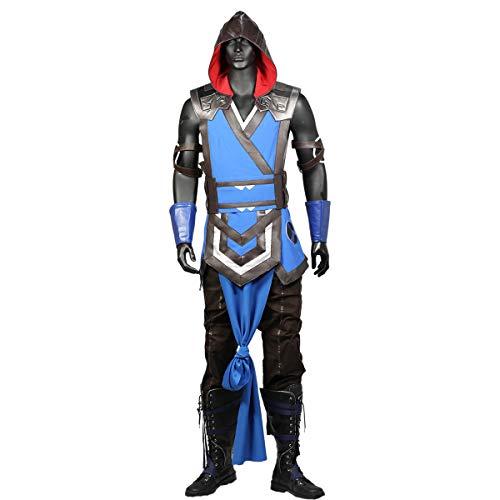 Sub Zero Kostüm Spiel Mortal Kombat 11 Cosplay Outfit mit Zubehör für Erwachsene Herren Halloween Fancy Dress Kleidung (L)