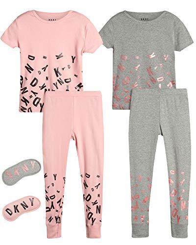 DKNY Girl's 4-Piece Pajama Set – Comfortable Snug Fit Design, Heather Grey/Femme, Size Small'
