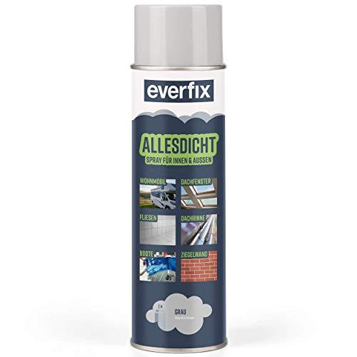 EVERFIX Allesdicht Spray, Dichtspray, Flüssigkunststoff, flüssiger Kunststoff zur Abdichtung, 500 ml, Grau