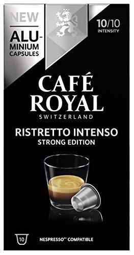 Café Royal Ristretto Intenso Strong Edition 100 Nespresso®* kompatible Kapseln (aus Aluminium, Intensität 10/10) 10er Pack (10 x 10 Kaffeekapseln)