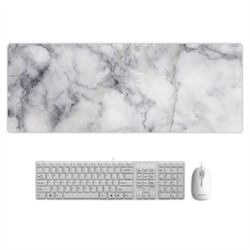 JapanAmStore Large Marble Mouse Pad Office Desk Mat Marble Laptop Mousepad Extended Gaming Mouse Mat White(800x300x1.5mm)