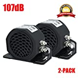 MIRKOO Car Back-up Alarm, 107dB 12V-80V DC Waterproof Industrial Heavy-Duty Backup Reverse Warning Alarm with Super Loud Beeper Tone for Truck Van Freight Car Lorry Heavy Vehicles (2-Pack)