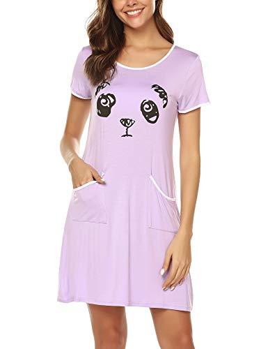 BESDEL Nachthemden Damen Baumwolle Nachthemden Kurzarm Schlafkleid Lila S