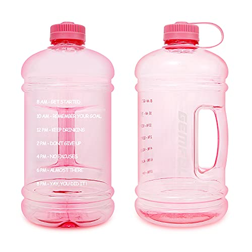 GEMFUL Bottiglia d'Acqua Senza BPA con Indicatore del Tempo Borraccia Sportiva da 3 L con Manico per Palestra Casa Ufficio attività All'aperto