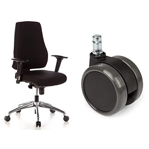 hjh OFFICE 608000 Profi Bürostuhl PRO-TEC 200 Stoff Schwarz Drehstuhl ergonomisch, Arm- & Rückenlehne höhenverstellbar & 5X Hartbodenrollen 11mm / 65mm Büro-Stuhl-Rollen für Hartböden (5er Pack)