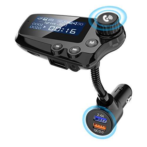 Transmisor Bluetooth Coche, Wodgreat Transmisor FM Manos Libres para Coche Adaptador Bluetooth Radio, Pantalla Grande de 1,74', 3 Puertos USB QC 3.0, Soporte Tarjeta TF/Disco U/Salida AUX