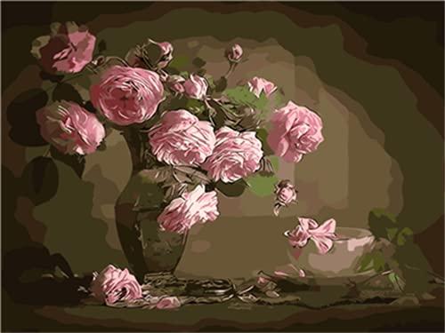 Meecaa - Kit de florero abstracto para adultos principiantes, pintura al óleo de 40,6 x 50,8 cm (flor, sin marco)