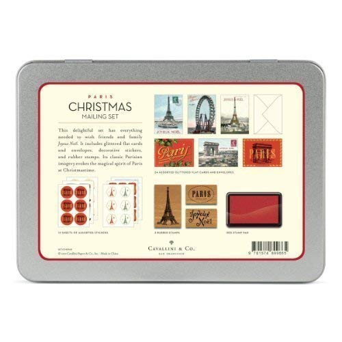 Cavallini - Mailing Set - Parijs Kerstmis - Kaarten, Postzegels, Stickers & Ink Pad (CHRPAR)