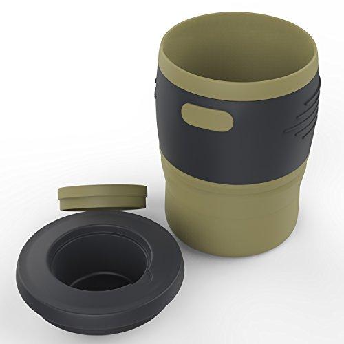 MoKo Faltbar Reisebecher - Tragbarer 350ML Mehrweg Becher mit Deckel, zusammenklappbarer Teebecher, BPA-Frei Silikon, 12 oz, mit Speicherplatz für Camping Outdoor, Reise, Lesen, Schule, Beige