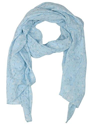 Seiden-Tuch Damen Blumen Muster - Made in Italy - Eleganter Sommer-Schal für Frauen - Hochwertiges Seidentuch / Seidenschal - Halstuch und Chiffon-Stola stilvolles Muster von Zwillingsherz hellblau