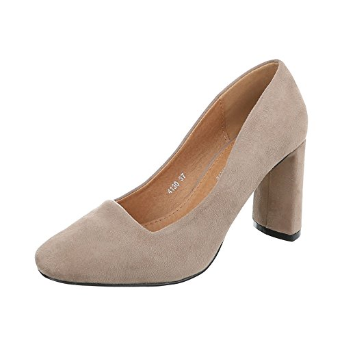 Ital-Design High Heel Pumps Damen-Schuhe High Heel Pumps Pump High Heels Pumps Hellbraun, Gr 36, 4130-