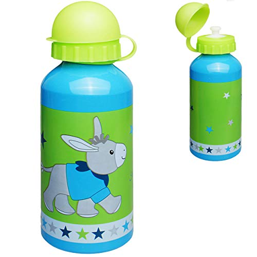 alles-meine.de GmbH Trinkflasche / Sportflasche -  Esel - Pferd & Sterne  - BPA frei - auslaufsicher - Alutrinkflasche - 400 ml - aus Aluminium - für Kinder - Aluflasche 0,4 Li..