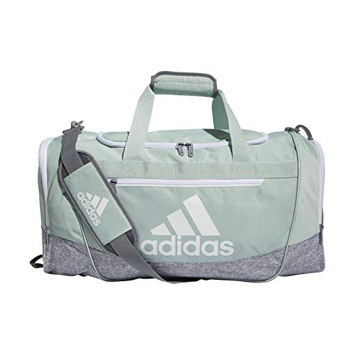 adidas Defender III Medium Duffel Bag, Green Tint/White, One Size