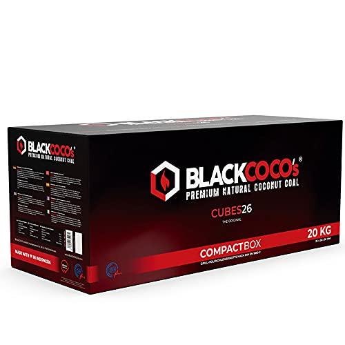 BLACKCOCO's - 20 KG Premium Shisha Kohle Naturkohle Kokosnuss und BBQ - Hochwertige Kokos Coal Briketts für Wasserpfeife & Grill - Shisha Würfel Kohlen & Grillkohle mit Langer...