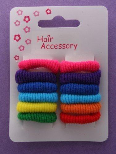 12 Bright Mini Hair Ponios / Elastics