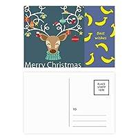 クリスマスギフト松葉杖ヘラジカベル祭パターン バナナのポストカードセットサンクスカード郵送側20個
