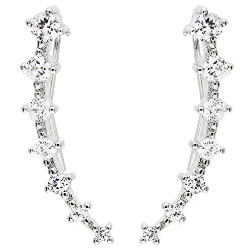 MYA art Damen Ohrklemme 925 Sterling Silber mit Swarovski Elements Strass Kristall 7 Stars Ear Cuff Ohrringe Ohrstecker Weiß Ohrmanschette Lang