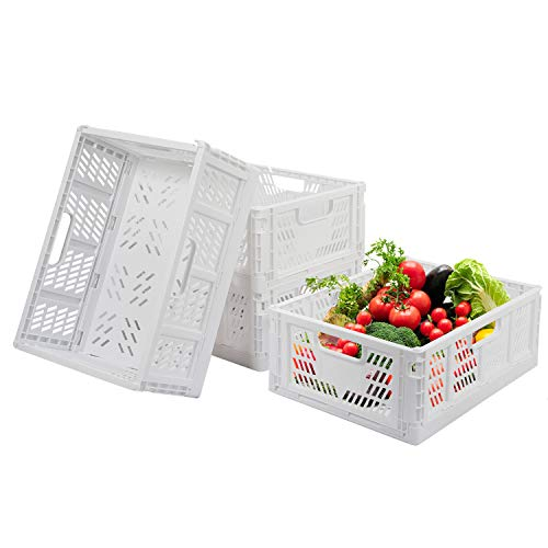 Set di 4 contenitori in plastica pieghevoli, per alimenti, frutta, verdura, snack, bottiglie, giocattoli, articoli da toeletta, casa, cucina, ufficio, dispensa, organizer