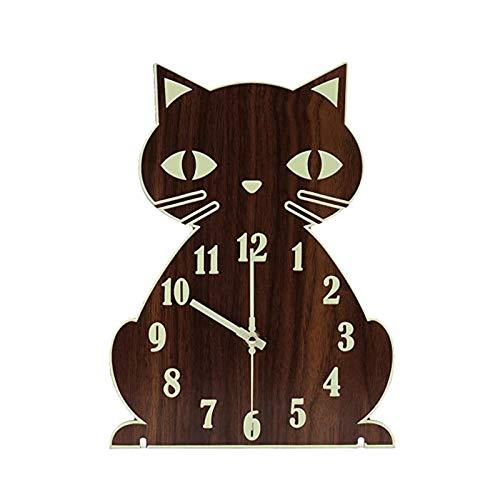 Reloj de Pared de Gato silencioso y sin tictac, Funciona con Pilas, función de luz Nocturna, Reloj de Pared de Madera, Relojes de Pared de Animales Grow in The Dark