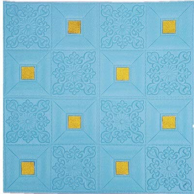 SMXGF Slaapkamer warm wallpaper kamer plafond plafond geluiddichte zelfklevend behang decoratieve schuim raadsmuur vernieuwing (Color : Blue with gold, Size : Size 70 x 70cm)